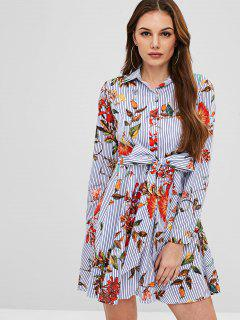 ZAFUL Buttoned Striped Floral Knotted Dress - Multi S