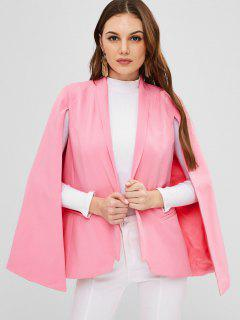 ZAFUL Manteau Cape Simple à Col Châle - Rose Léger  L