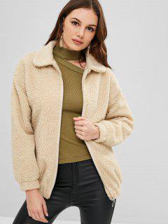 ZAFUL Zip Up Loose Faux Fur Coat - Vanilla M