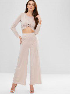 ZAFUL Twisted Tee And Wide Leg Pants Set - Light Khaki M