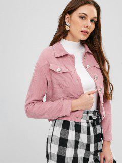 ZAFUL - Button-Up-Kurzjacke Aus Cord-Material - Rosa Gänseblümchen L