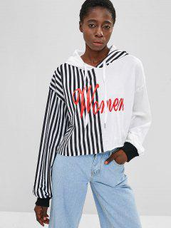 ZAFUL Striped Letter Graphic Crop Hoodie - Multi Xl