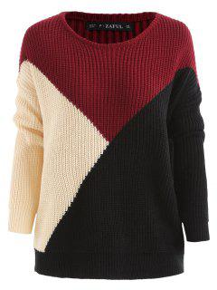 Color Block Tricolor Oversized Sweater - Black L