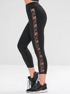 ZAFUL Seamless Lace Panel Sport Leggings - Black L