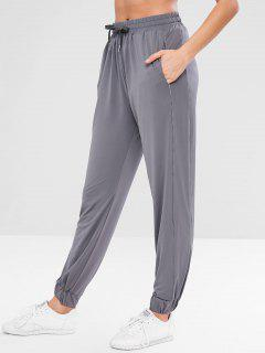 ZAFUL Drawstring Sport Sweatpants - Slate Gray L