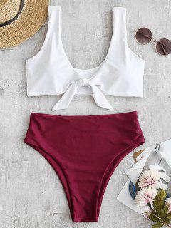 Zweifarbiger High Cut Knotted Bikini Set - Roter Wein L