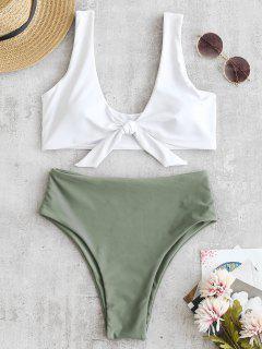 Zweifarbiger High Cut Knotted Bikini Set - Tarnanstrich Grün M