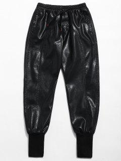 Pantalones De Chándal De Cintura Elástica De Cuero De PU - Negro L