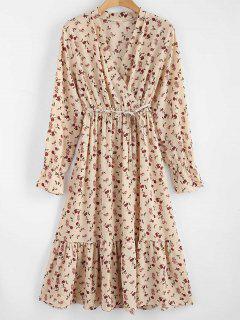 Elastic Waist V Neck Tiny Floral Print Dress - Apricot
