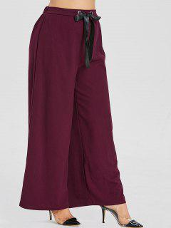 ZAFUL Wide Leg Plus Size Pants - Maroon 2x