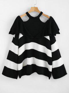 Stripe Cold Shoulder Sweater - Black