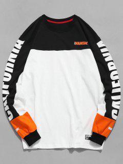 Farbblock-Buchstabe-Druck-Grafik-T-Shirt - Weiß L