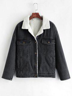 Drop Shoulder Fleece Denim Jacket - Black Xl