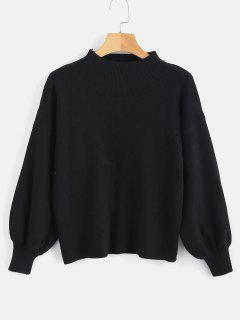 Drop Shoulder Plain Lantern Sleeve Sweater - Black