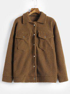 Snap Button Fluffy Faux Shearling Teddy Coat - Wood L