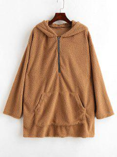 Fluffy Tunic Zip Hoodie With Pocket - Light Brown M