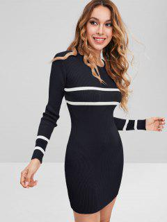 Stripes Panel Sweater Mini Dress - Black