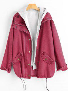 Button Up Denim Jacket And Hooded Vest - Cherry Red Xl