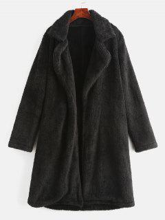 Lapel Collar Plain Faux Fur Teddy Coat - Black L