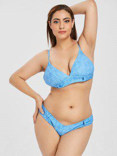 ZAFUL Plus Size Faux Denim Cami Bikini Set - Silk Blue L