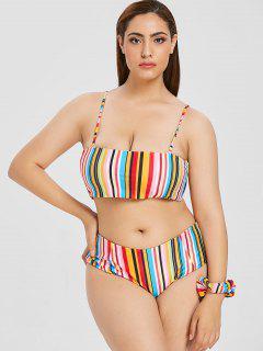 ZAFUL Plus Size Buntes Gestreiftes Bikini Set - Multi-a L