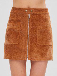 ZAFUL Pockets Zip Up Corduroy Skirt - Dark Goldenrod S