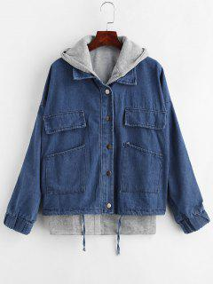 Hooded Waistcoat And Denim Jacket Set - Denim Dark Blue M