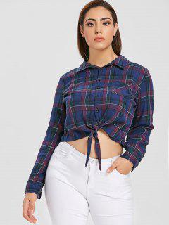 Plus Size Tied Plaid Shirt - Multi 4x