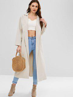ZAFUL Double Breasted Trench Coat - Cool White L