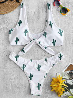 ZAFUL Ensemble Bikini Débardeur À Noeud Imprimé Cactus - Blanc M