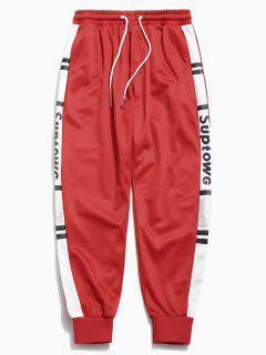 Pantalon De Jogging Panneau Motif De Lettre - Rouge M