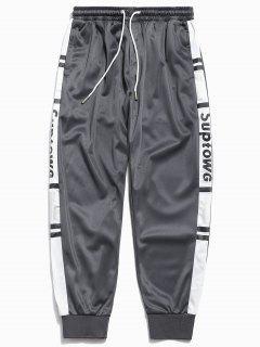 Pantalones De Basculador Patrón De Letras De Panel - Gris Ceniza 2xl