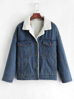 Drop Shoulder Fleece Denim Jacket - Denim Dark Blue Xl
