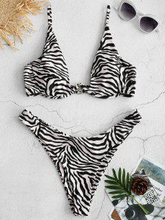 ZAFUL Zebra High Cut Bikini Set - Multi L