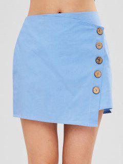 ZAFUL Buttons Embellished Asymmetric Skirt - Light Blue M