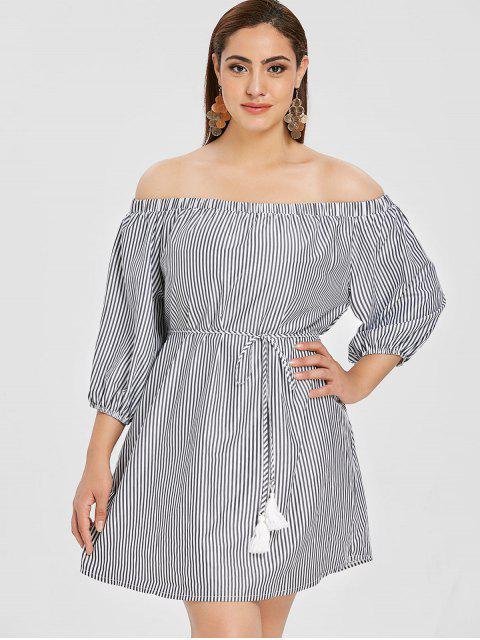 fashion ZAFUL Plus Size Striped Off Shoulder Dress - MULTI L Mobile