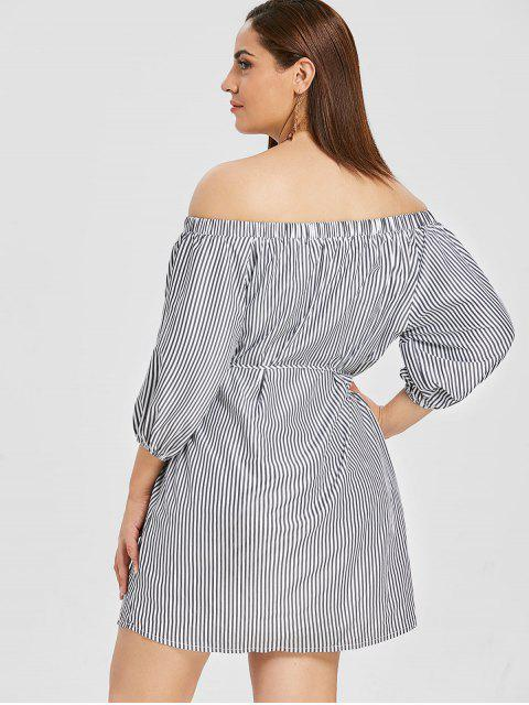 chic ZAFUL Plus Size Striped Off Shoulder Dress - MULTI 4X Mobile