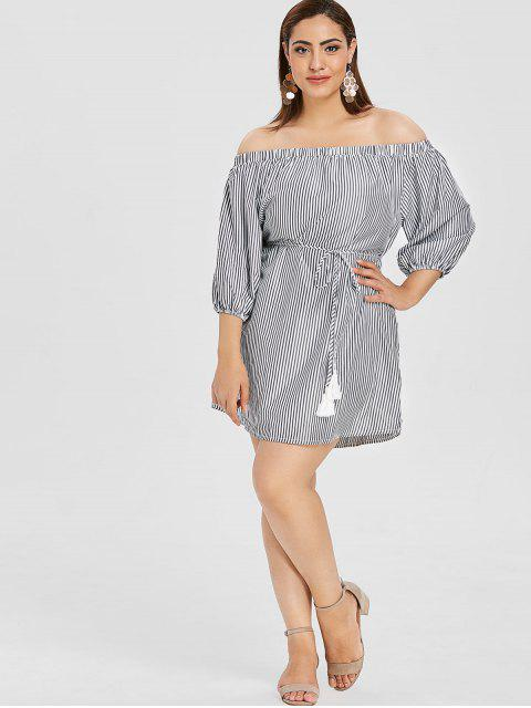 unique ZAFUL Plus Size Striped Off Shoulder Dress - MULTI 2X Mobile