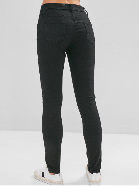 Jeans ajustados a la mitad de la cintura - Negro 2XL Mobile