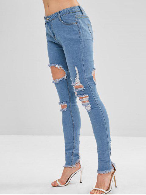 Dobladillo deshilachado pantalones de cintura media rasgados - Azul Denim M Mobile