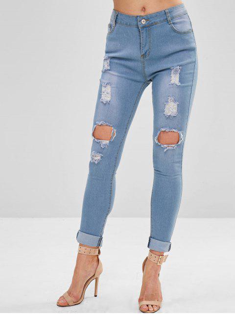 Jeans ajustados y rotos de bolsillo - Azul Denim M Mobile