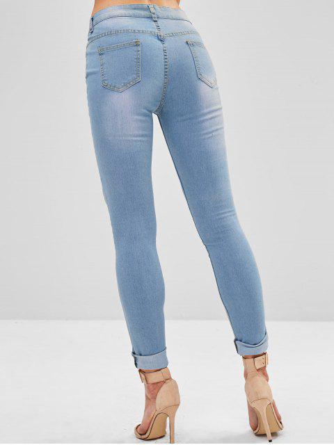 Jeans ajustados y rotos de bolsillo - Azul Denim L Mobile