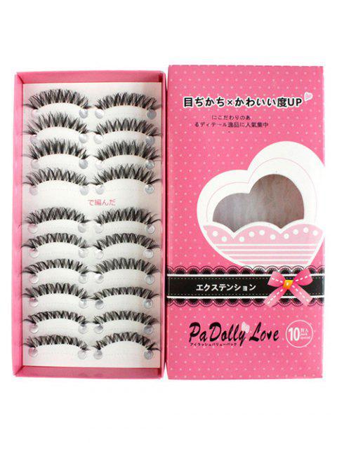 affordable Cosmetic 10 Pairs Handmade Volumizing Curling False Eyelash Set - BLACK  Mobile