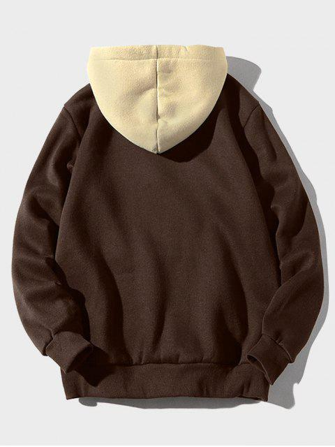 best Color Block Letter Patch Detail Pouch Pocket Fleece Hoodie - COFFEE XS Mobile