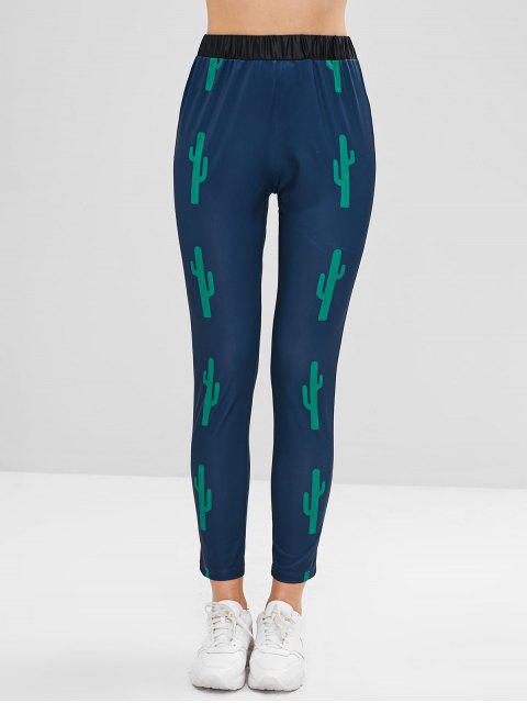 unique ZAFUL Cacti Print High Waist Leggings - PEACOCK BLUE S Mobile
