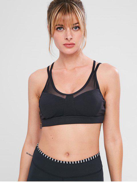 buy Mesh Insert Strappy Workout Bra - BLACK S Mobile