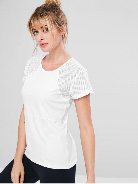 T-shirt de Gymnastique Perforé Cousu - Blanc S Mobile