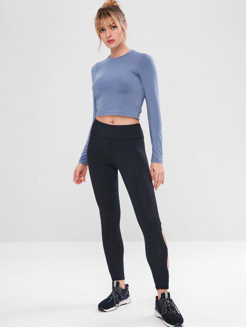 Ausschnitt Langarm-Crop-T-Shirt - Blaugrau L Mobile