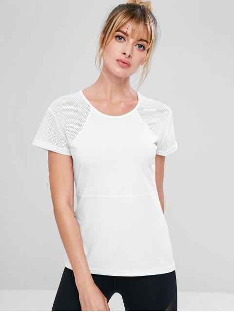 shop Perforated Stitching Gym T-shirt - WHITE L Mobile