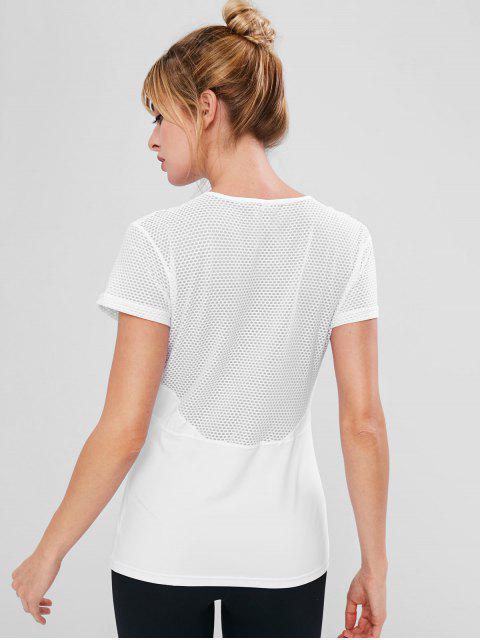 Perforiertes Nähen Gym T-Shirt - Weiß L Mobile